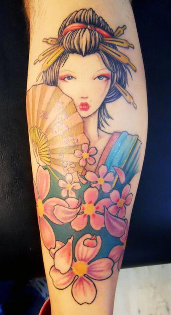 Geisha Portrait Sleeve Tattoo