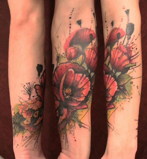 Poppy flower watercolor tattoo the for Watercolor poppy tattoo