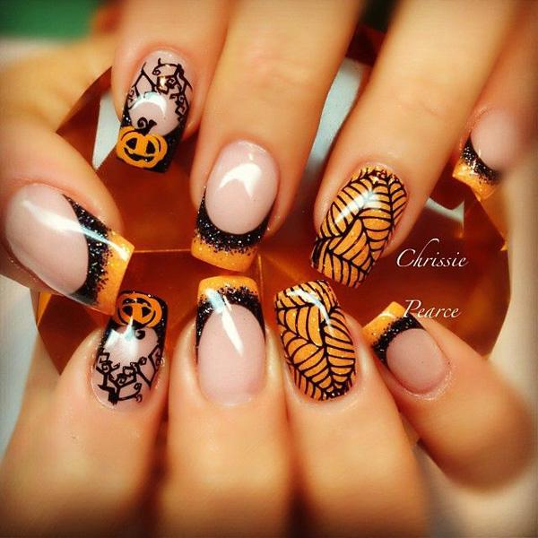 50 cool halloween nail art ideas art and design spider web nails cool idea to decorate your nails on halloween night prinsesfo Image collections