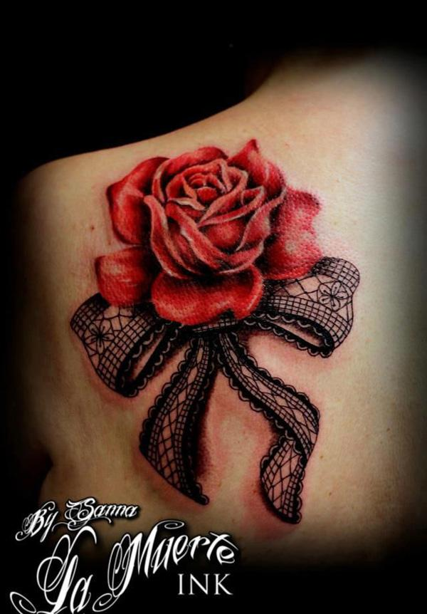 the gallery for lace rose tattoo shoulder. Black Bedroom Furniture Sets. Home Design Ideas