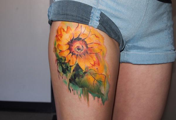Sunflower Thigh Tattoo Sunflower Thigh Tattoo 45