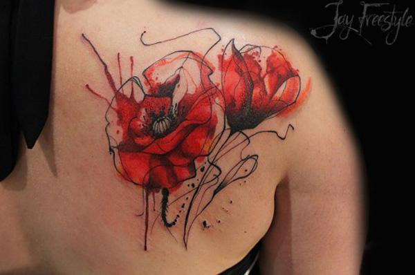 60 beautiful poppy tattoos art and design rh cuded com red poppy flower tattoo red poppy flower tattoo
