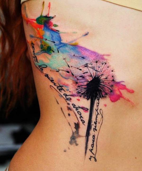 75d13e3dd930e Watercolor Dandelion Tattoos - 45 Dandelion Tattoo Designs for Women <3 <3  ...