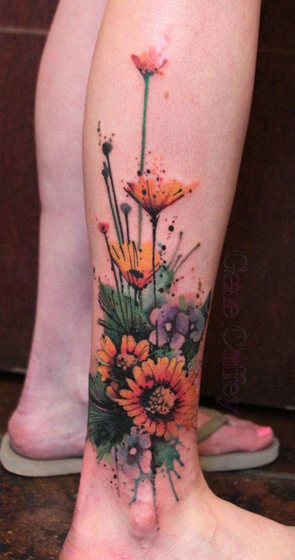 Sunflower Thigh Tattoo Sunflower Leg Tattoo 45