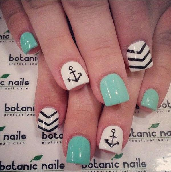 Cute Nail Designs With Anchors Cute Chevron Nail Design With