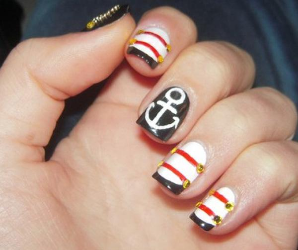 Cute Nail Designs With Anchors Cute Anchor Nail Design 2015