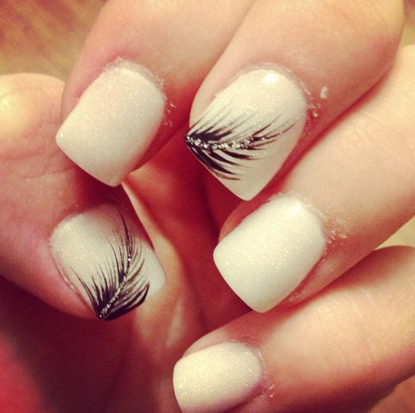 40 Examples Of Feather Nail Art Art And Design