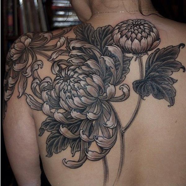 black and grey chrysanthemum tattoo the image kid has it. Black Bedroom Furniture Sets. Home Design Ideas