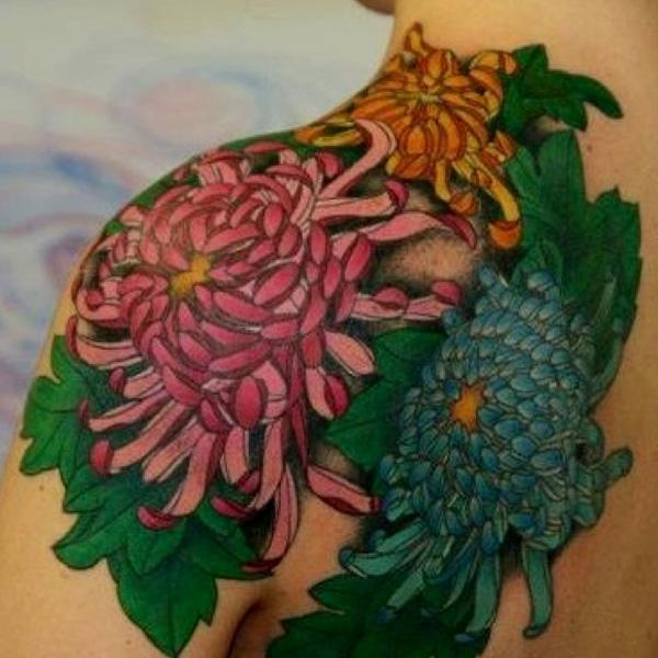 chrysanthemum tattoo shoulder. Black Bedroom Furniture Sets. Home Design Ideas