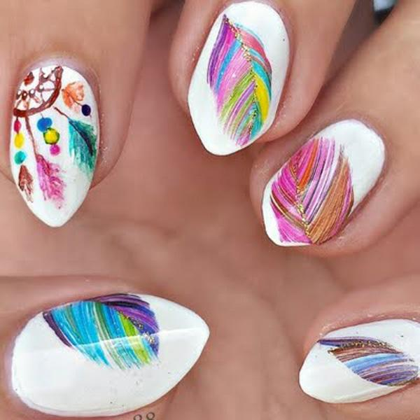 Dream Catcher Nails - 40+ Examples of Feather Nail Art <3 <3 ... - 40+ Examples Of Feather Nail Art Art And Design
