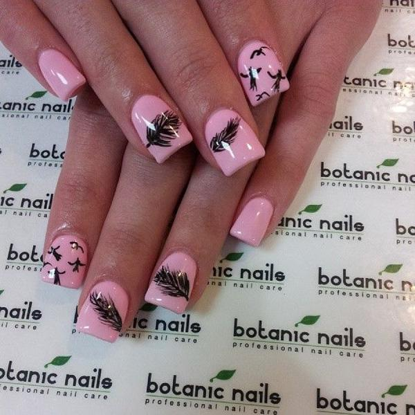 40+ Examples of Feather Nail Art | Art and Design