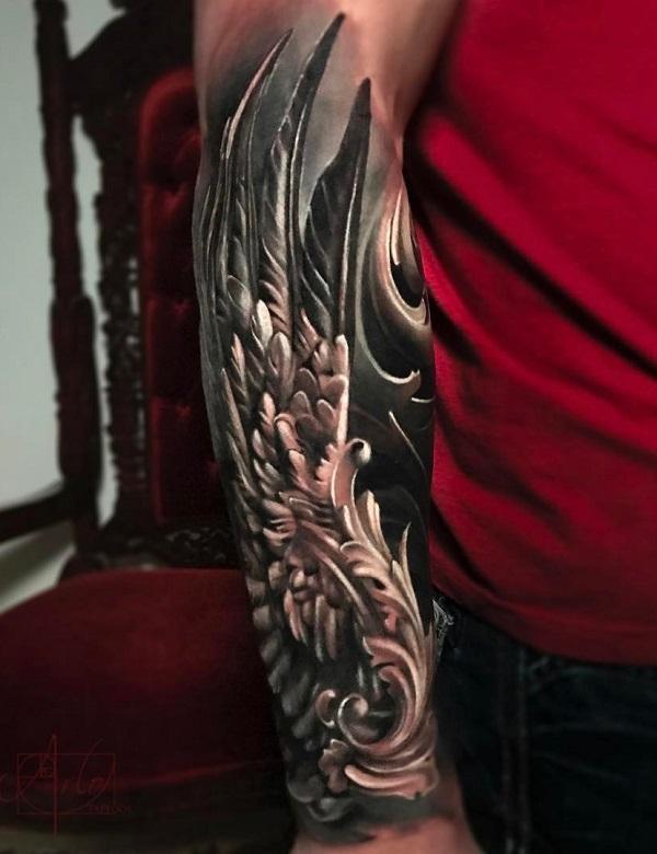 941a48cd5 3D wing sleeve tattoo - 35 Breathtaking Wings Tattoo Designs ...