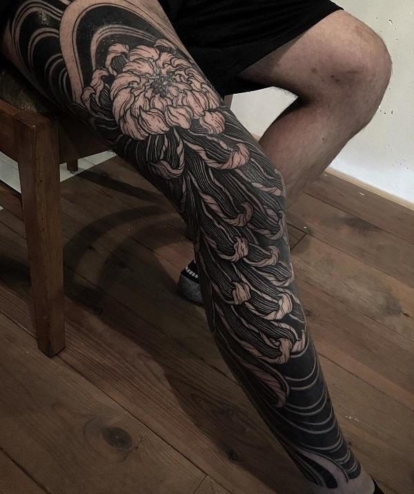 21d9cb129 Chrysanthemum Full Leg Tattoo - 45 Beautiful Chrysanthemum Tattoo Ideas <3  ...