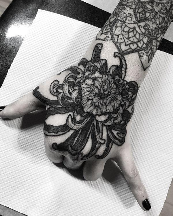 f776c22083f59 Chrysanthemum Tattoo on Hand - 45 Beautiful Chrysanthemum Tattoo Ideas ...