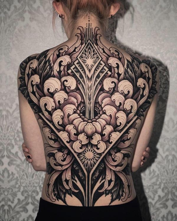 1c243c2bf Full back chrysanthemum Tattoo - 45 Beautiful Chrysanthemum Tattoo Ideas <3  ...