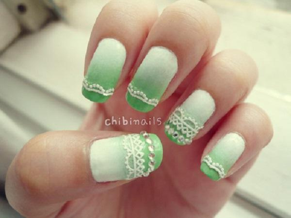 White to green ombre nails with lace stickers