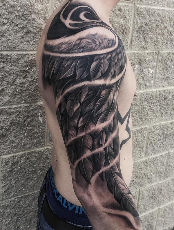 e785de460 Wing sleeve tattoo for man - 35 Breathtaking Wings Tattoo Designs ...
