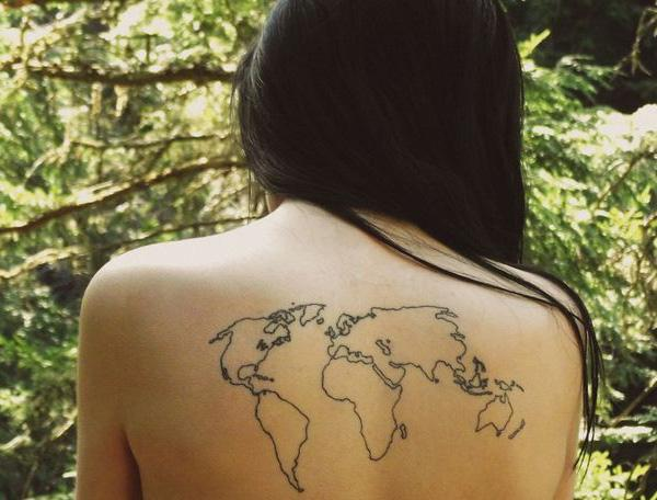 25 awesome map tattoos art and design world map back tattoo 25 awesome map tattoos 3 3 gumiabroncs Image collections