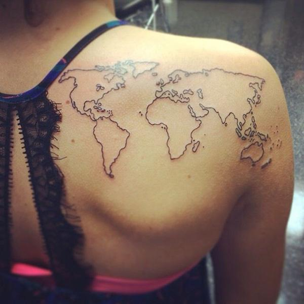 25 awesome map tattoos art and design world map tattoo on back 25 awesome map tattoos 3 gumiabroncs Image collections