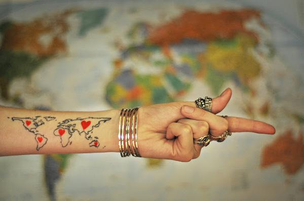 25 awesome map tattoos art and design wrist map tattoo 25 awesome map tattoos 3 3 gumiabroncs Image collections