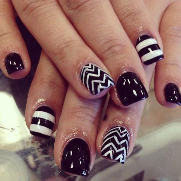 Silhouette like black and white landscape nail designs