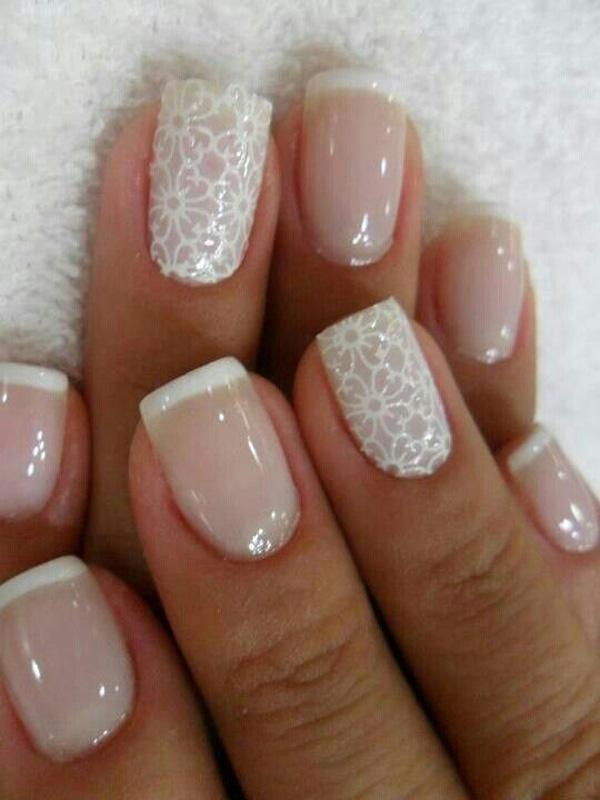 white neutral and lace texture nails ... - 40 Ideas For Wedding Nail Designs Art And Design