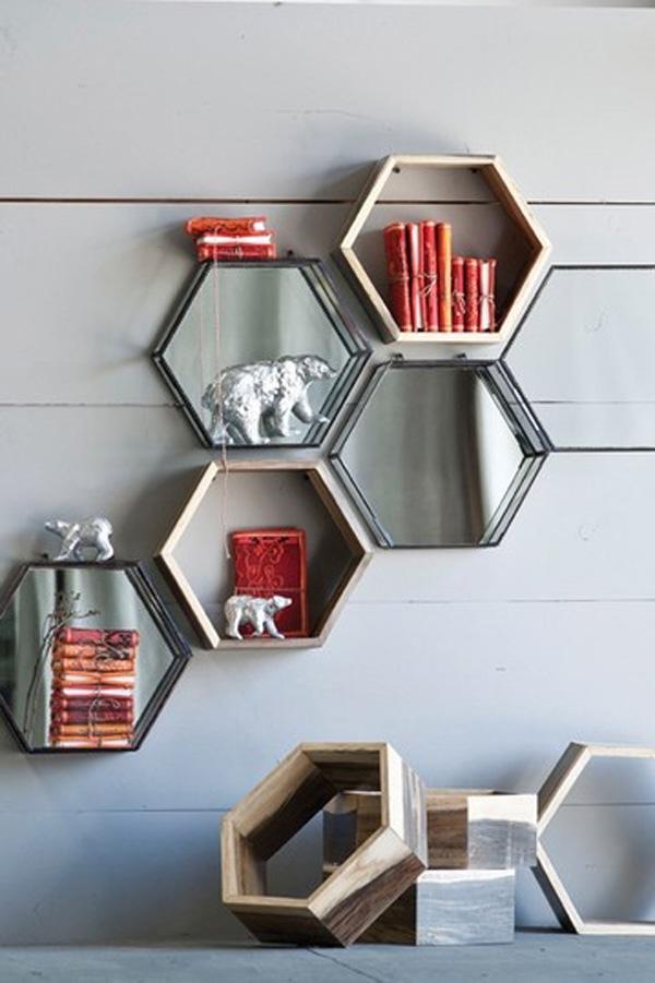 Honeycomb Shadowbox Shelves - 60 Creative Bookshelf Ideas <3 <3 ...