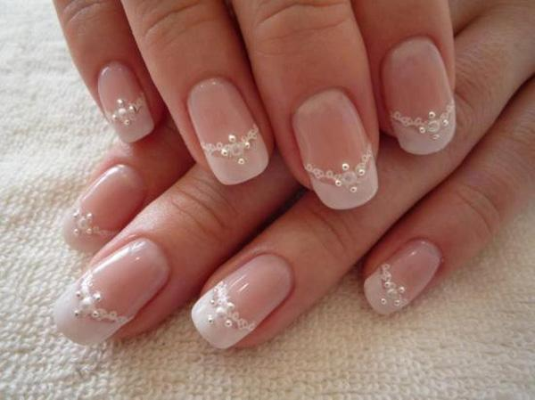 wedding themed nails with elegant lace and diamond ornaments