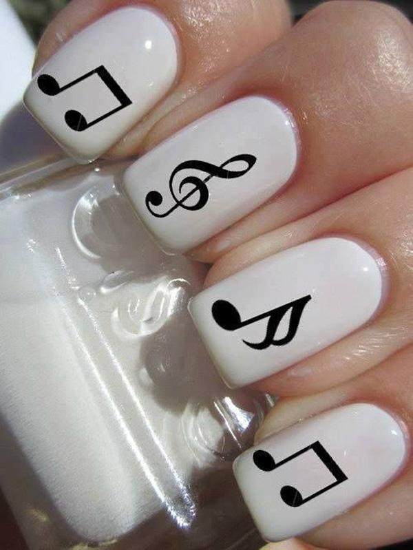 60 examples of black and white nail art art and design black and white music notes nail art 60 examples of black and white nail art prinsesfo Gallery