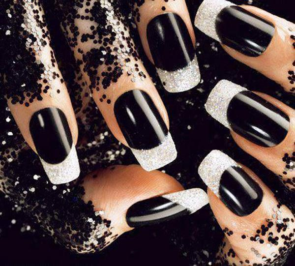 Black nails with white glitter rhinestones ... - 60 Examples Of Black And White Nail Art Art And Design