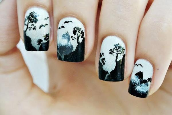 Silhouette like black and white landscape nail designs ... - 60 Examples Of Black And White Nail Art Art And Design