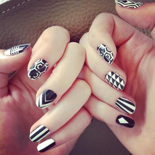 black and white nail art - 60 Examples of Black and White Nail Art <3 ... - 60 Examples Of Black And White Nail Art Art And Design