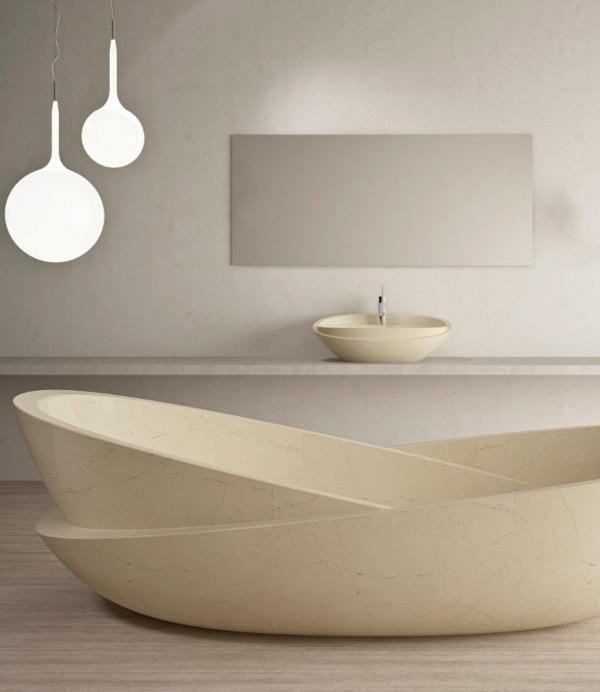 Bowl Shaped Bathtub. This Simple Looking Bathtub Tales Shape Of Two Bowls  Placed One On ...
