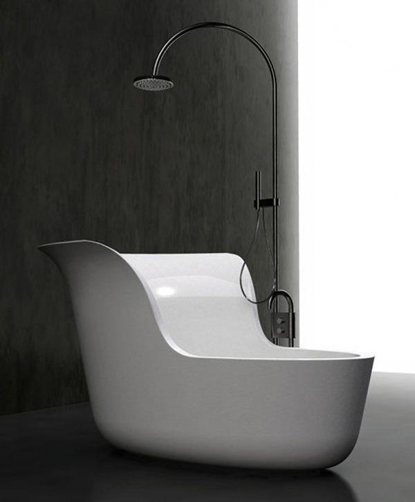 l shaped tub shower combo. An L Shaped Free Standing Bathtub With An Attached Shower On Top  70 Creative Bathtub Designs Art And Design