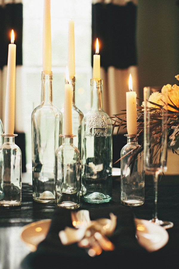 13 Wine bottle candle holders