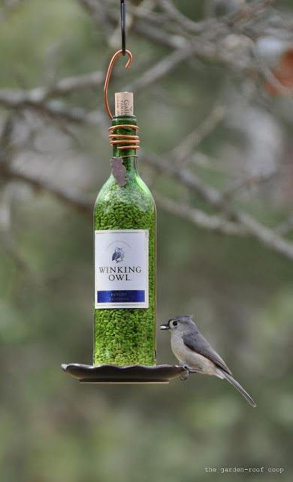 14 DIY Wine Bottle Bird-Feeders