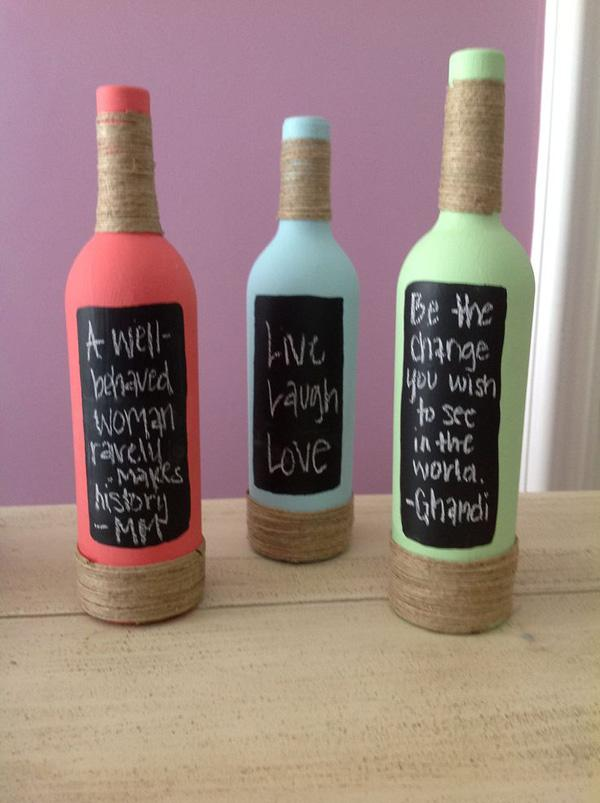 15 decorative wine bottles.