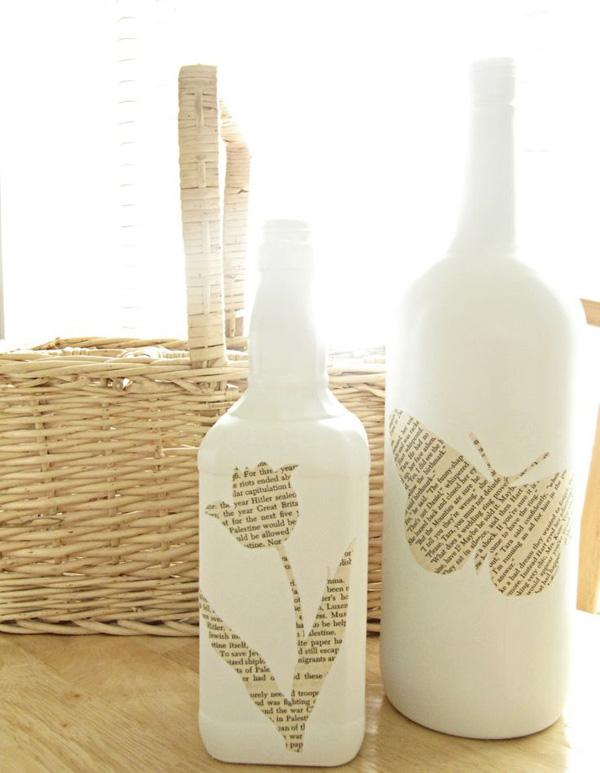 17 Bottles decorated with pages of books, or someone's favorite Bible verse or inspirational message