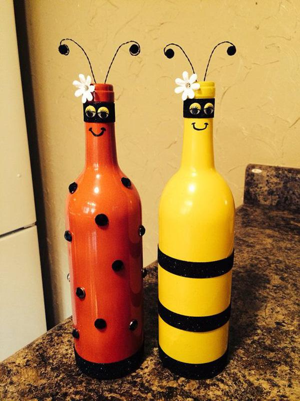 22 Bee and lady bug recycled wine bottles