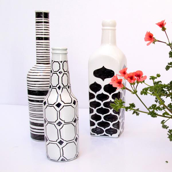23 Draw Simple Patterns On Painted Bottles