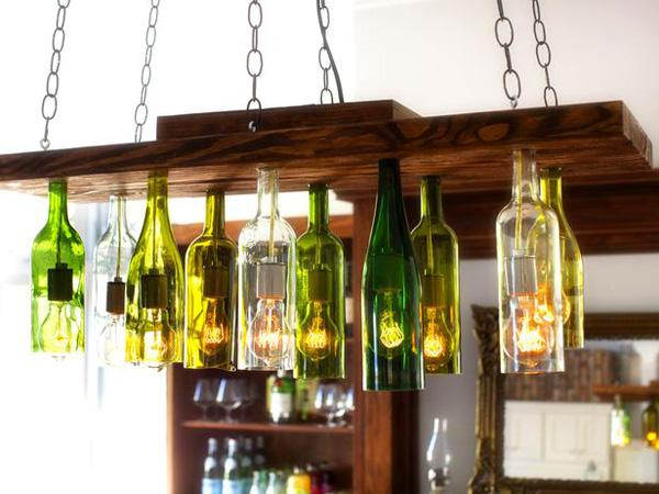 25 DIY Chandelier Out Of Wine Bottles
