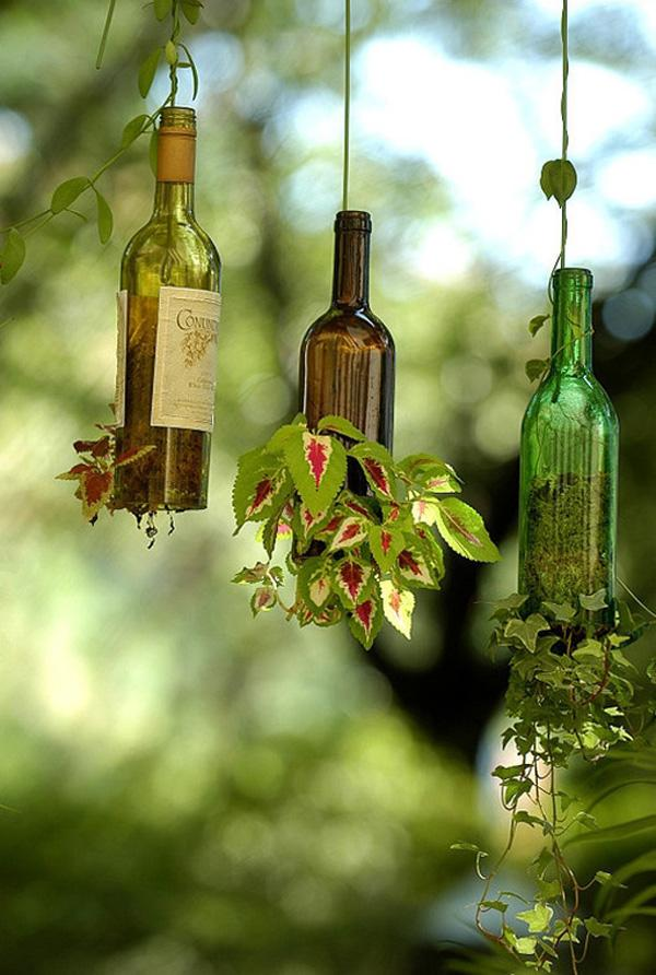 33 DIY Wine Bottle Hanging Planters