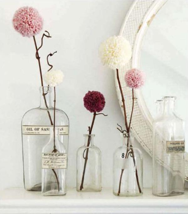 4 Pompom flowers DIY
