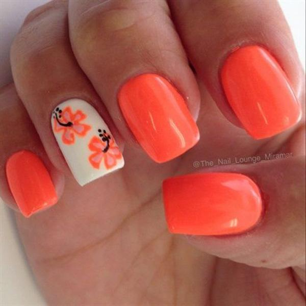 Orangered, the color for the sun, tropical flower and warm Spring