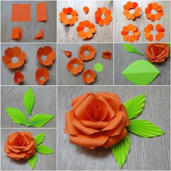 how to make a paper rose step by step