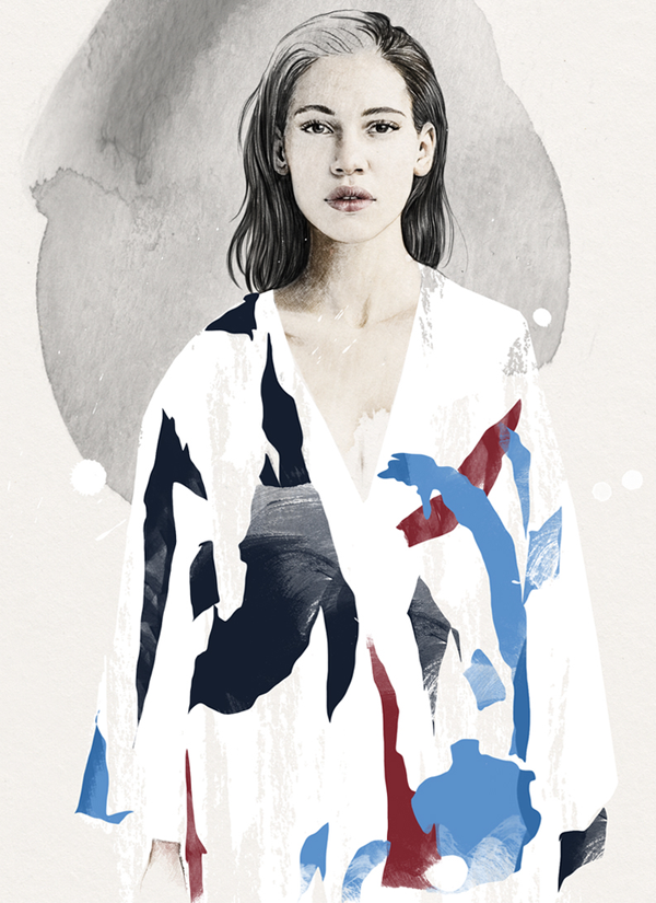 An illustration of Okay Kaya wearing Freya Dalsjo