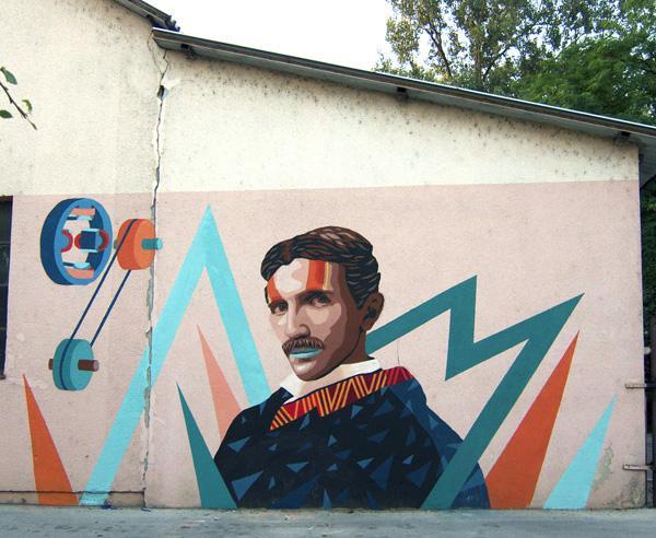 Nikola Tesla detail mural