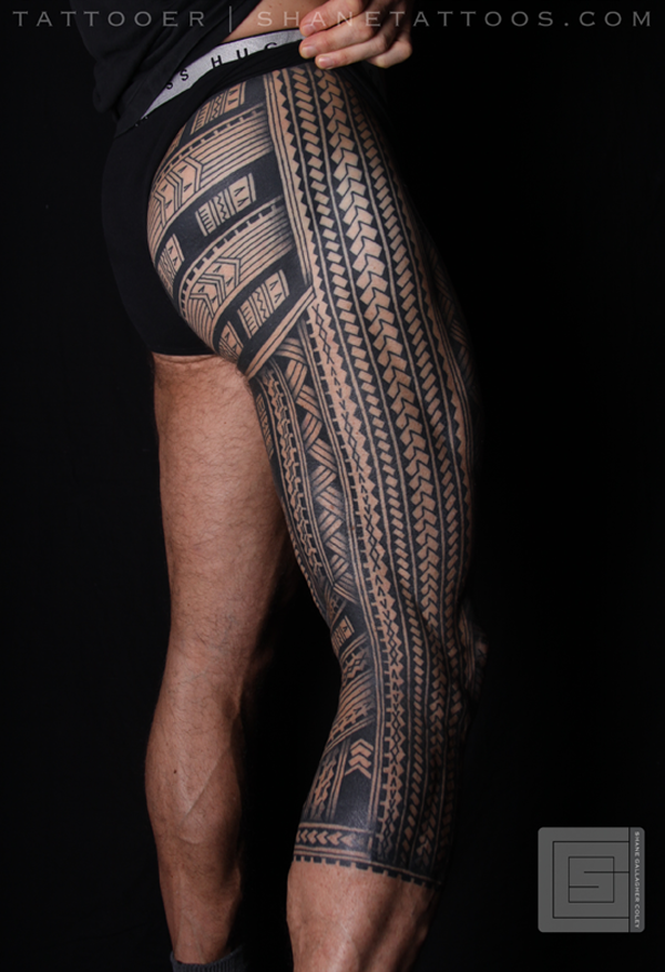 Polynesian Samoan Inspired Leg tattoo