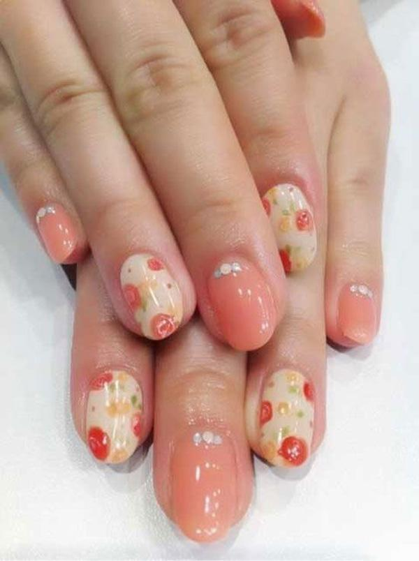Pink nude with diamante, and vintage floral nails