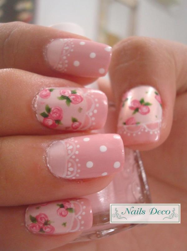 Pink roses with lace, white dots. Love the vintage style
